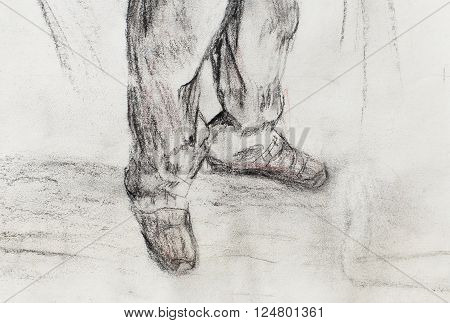 art drawing man legs and white paper background