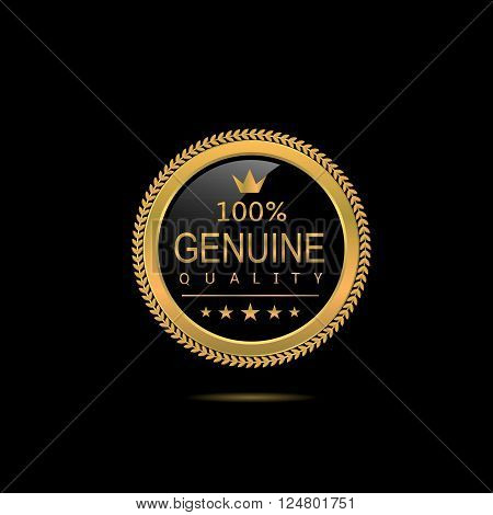 Genuine quality badge. Golden label, Vector illustration