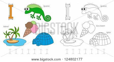 Tracing Worksheet for children. Full english alphabet from A to Z, pictures for letter I poster
