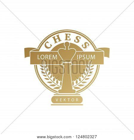Vector chess clubs version of logo. Design for decoration tournaments sports cups logos business cards. Gold white. Logo emblems badges - design chess events.