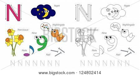 Tracing Worksheet for children. Full english alphabet from A to Z, pictures for letter N, the colorful version.
