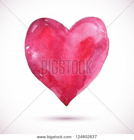 Vector pink watercolor background. Colorful abstract texture. Vector design elements. Vintage background. Vector watercolor heart. Love card. Vector Valentine's day. Holiday card. Red heart