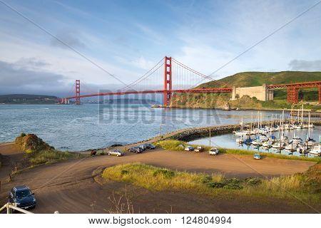 sunrise view of the Golden Gate Bridge San Francisco (view from Presidio Yacht harbor)