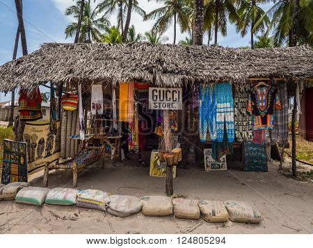 PAJE, ZANZIBAR - MARCH 31, 2016: Local souvenir shop called