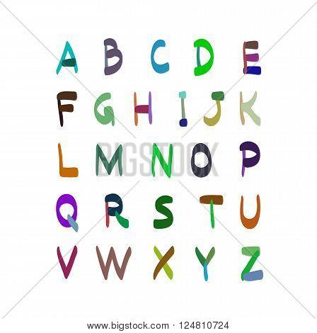 Alphabet Vector Hand Drawn Illustration. Set Of Icons.