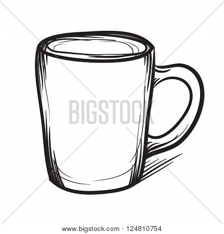 Tea Cup Vector Hand Drawn Illustration. Cup Icon.