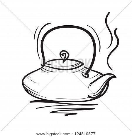 Teapot Vector Hand Drawn Illustration. Teapot Icon.
