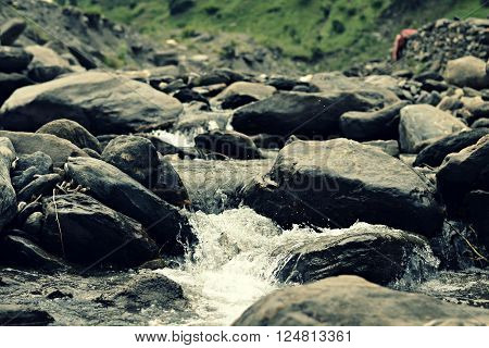 The river in murre. River mountain. Water