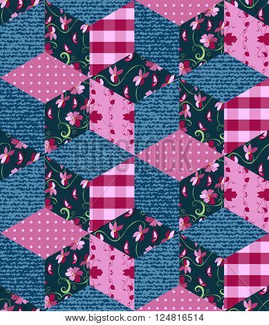 Seamless patchwork pattern in pink and blue tones. Jeans and floral patches. Vector illustration of quilt.