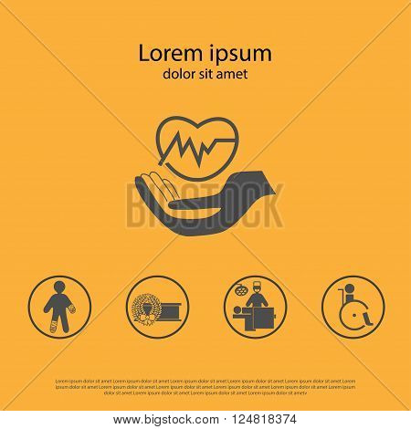 Health insurance icon. Protection symbol and illustration of insurance claims. Can be used as web page brochure booklet etc.