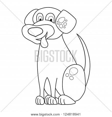 Cartoon smiling spotty puppy, vector illustration of cute funny dog siting and put out a tongue, coloring book page for children