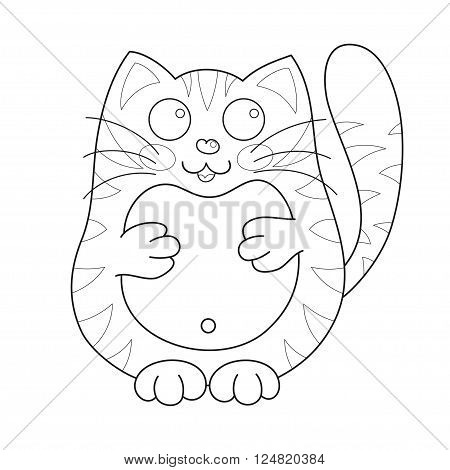 Cartoon smiling stoutish gentle kitty with stripes, vector illustration of cute loving cat, lonely kitten, coloring book page for children