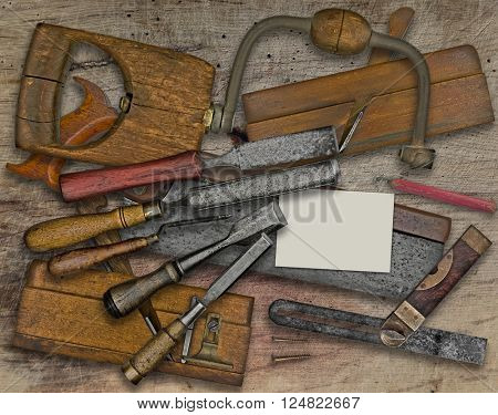 vintage woodworking  tools over wooden bench, business card for your text