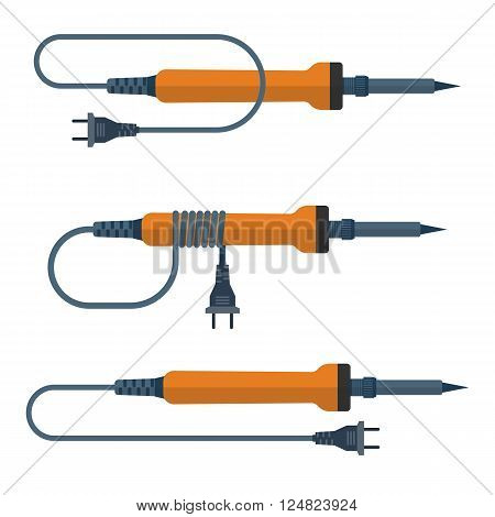 Soldering Iron, Vector Illustration, Flat Design.