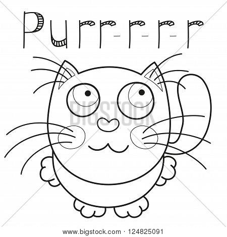 Cartoon smiling kitty, vector illustration of cute purring cat sitting and looking to camera, caressing missed lonely kitten, coloring book page for children