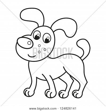 Cartoon smiling puppy, vector illustration of cute funny naughty dog standing, coloring book page for children