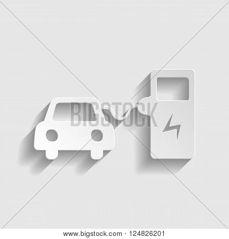 Electrocar battery charging sign. Paper style icon with shadow on gray.