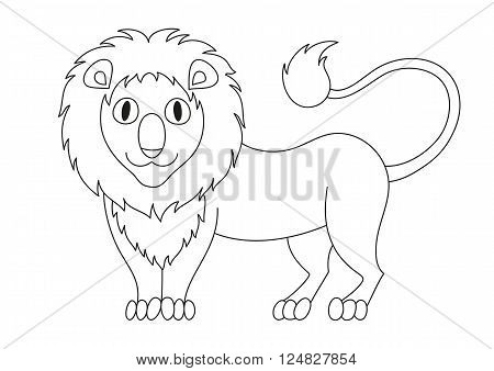 Cute modest cartoon lion with fluffy mane and kind muzzle, lion smile and look. Vector illustration, coloring book page for children
