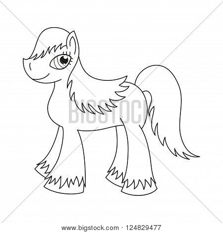 Vector illustration of cute horse, pony with a magnificent mane and tail, coloring book page for children