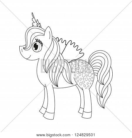 Vector illustration of cute horse princess, royal pony with a magnificent mane and tail, fairy foal with wings, coloring book page for children