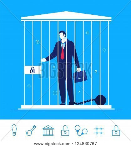 Flat design vector concept illustration. Teamwork. Businessman in jail wearing shackles. Choose the right path. Vector clipart. Icons set.