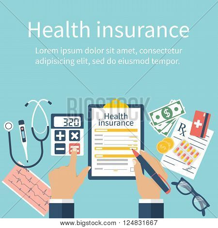 Man At The Table Fills In The Form Of Health Insurance