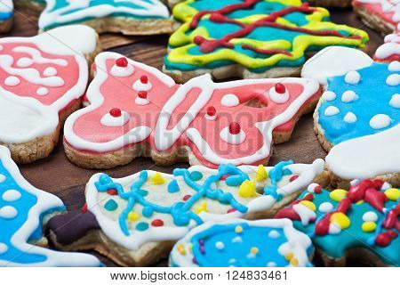 Christmas gingerbread cookies on the table background