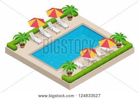 Summer travel concept.  Swimming pool, parasol umbrella, beach chairs. Swimming pool Flat 3d isometric vector illustration
