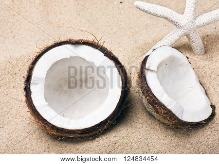coconut on the sand beach broken into pieces