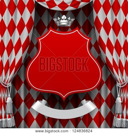 Red and white rhomboids background with a red suspended decorative baroque signboard and silver crown. Square presentation artistic poster and placard