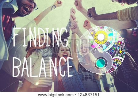Finding Balance Yin-yang Wellbeing Concept poster