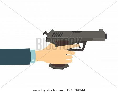 Hand holding a gun isolated on white background. Vector flat illustration.