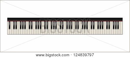 Realistic piano keyboard, 88 keys, isolated on a white background.  Vector EPS10 illustration.