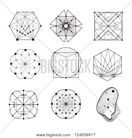 Sacred geometry forms, shapes of lines, logo, sign, symbol. Geometric patterns. Geometry symbolic.