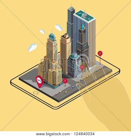 Flat isometric map on tablet, GPS navigation app infographic concept. Flat landscape street location isometric concept on the tablet. Application territory building in the natural landscape.
