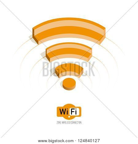 Isometric symbol Wi fi. concept of range. wi-fi zone. Public Wi-Fi zone wireless connection technology.Isolate on white.