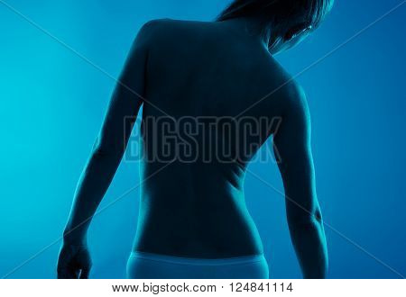 Lumbago disease. Backbone problem on woman body.