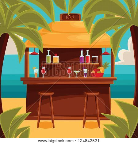 Beach bar on plage, summer barroom on vacation, cocktails on the sea with palm trees and water, ocean garizont visible for summer cafe, vector color illustration. variety summer drinks at the counter