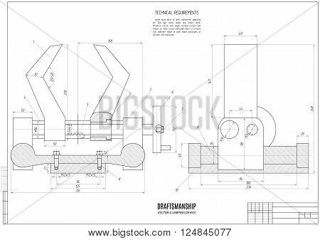 technical drawing of the clamping device construction project or plan with horizontal frame on the white background. stock vector illustration eps10