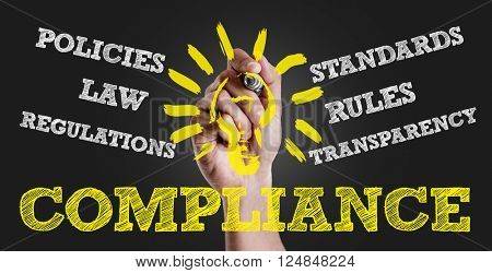 Hand writing the text: Compliance