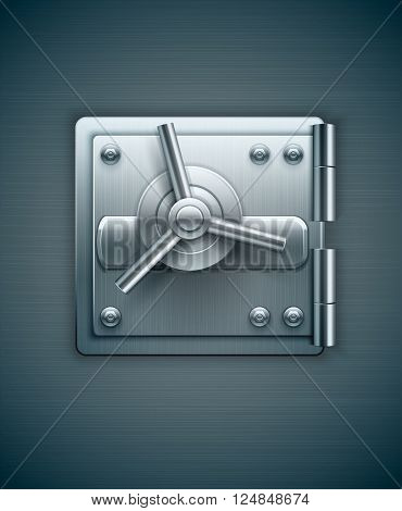 Closed metal door of bank safe for money keeping vector illustration. Transparent objects used lights and shadows drawing