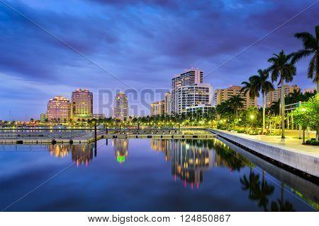 West Palm Beach, Florida, USA intracoastal waterway skyline.