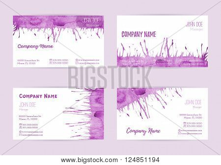 Set of hand painted watercolor horizontal business card templates. Colorful bright abstract pink brush stocks and splashes on a white background. Complied with the standard size.