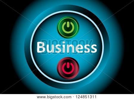 Business inscription and classical icons of inclusion and switching off
