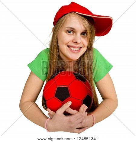 girl with ball lie prone isolated on the white