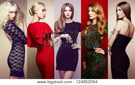 Fashion collage. Group of beautiful young women. Sensual girls posing in studio. Lady in elegant dresses