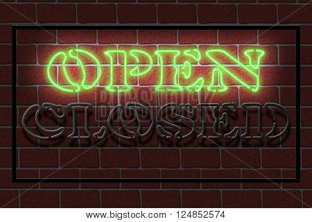 Illustration of a neon OPEN sign against a dark brick wall