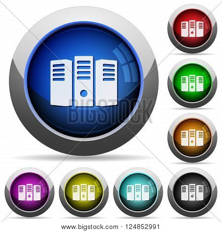 Set of round glossy server hosting buttons. Arranged layer structure.
