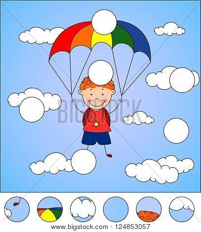 Boy Parachutist Descends From The Sky On A Parachute Through The Clouds. Complete The Puzzle And Fin