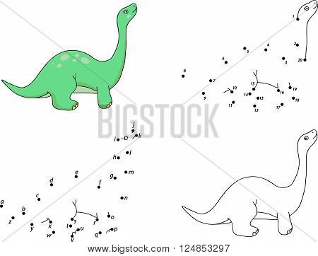 Cartoon Diplodocus. Coloring Book And Dot To Dot Game For Kids